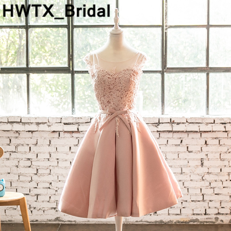 Pink Lace   Bridesmaid     Dresses   Knee-Length A-Line Luxury Satin Wedding Guest   Dress   New Plus Size Sheer Back Formal Party Gowns