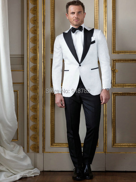 2016 Best Selling Black Peaked Lapel Mens White Wedding Suit With ...