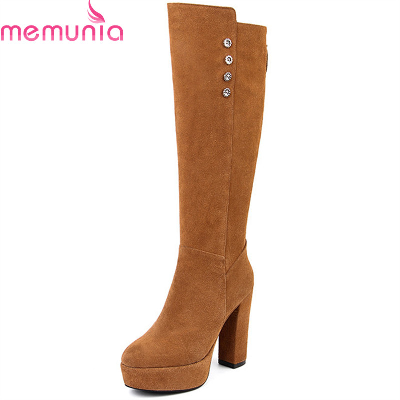 MEMUNIA 2018 new arrival knee high boots women cow suede leather autumn winter boots round toe high heels platform shoes woman