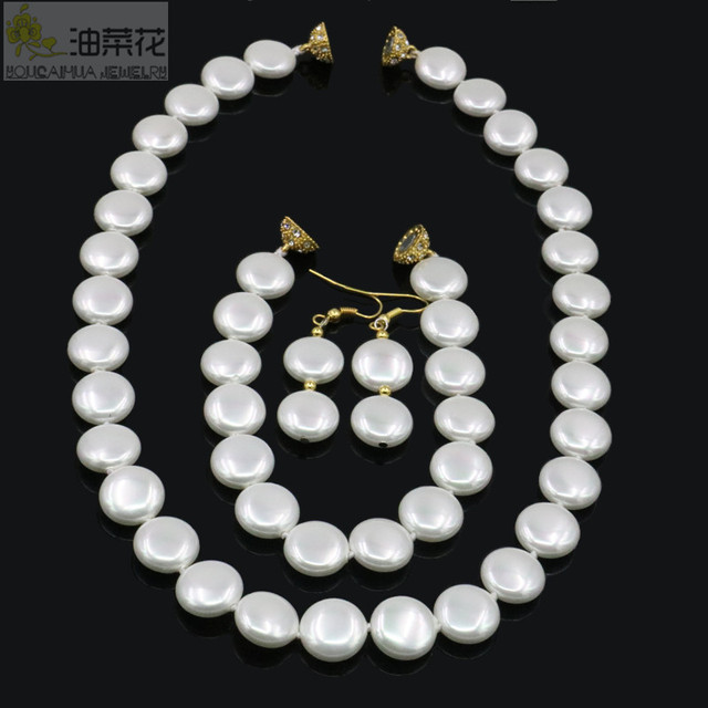 2019 12MM White Coin Pearl Necklace Bracelet Drop Earrings Sets Pearl Beads Fashion Jewelry Making Design Gold Magnetic Clasp