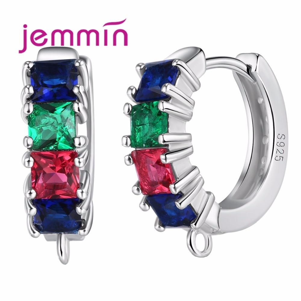 Jemmin prong beállítás színes fülbevaló Vintage S925 sterling szelet kerek alakú Bijoux DIY ékszer alkatrészek hölgy és lány