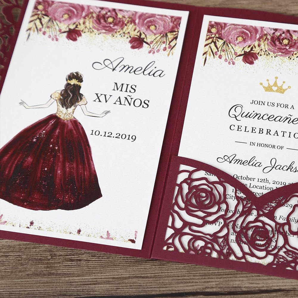 100 piezas Borgoña láser Floral tarjetas de invitación para boda/Partido/fiesta/aniversario/Cumpleaños CW0008-in Tarjetas e invitaciones from Hogar y Mascotas    1