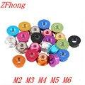 20 unids aluminio brida nylon Lock Nut m2 m3 M4 M5 M6 anodizado multi-color colorido tuercas