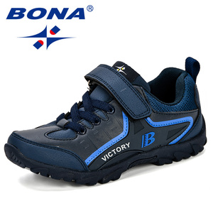 Image 3 - BONA новый дизайн, стильная детская спортивная обувь для мальчиков, Весенняя амортизирующая подошва, слипоны, лоскутные дышащие детские кроссовки, беговые кроссовки
