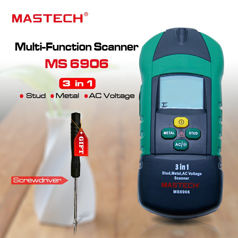 Buy 1 Free 1 MASTECH MS6906 3 in 1 stud metal detector Wall Scanner detector AC Voltage Tester Thickness Gauge w/ NCV цена