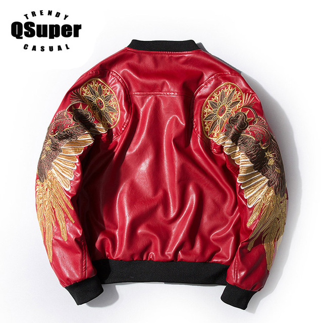 97fc0eb2f US $92.84 |QSuper Luxury Wings Embroidery PU Leather Bomber Jacket Men  Fashion Swag Motorcycle Jacket Coat Men Stylish Leather Jacket-in Jackets  from ...