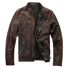 2018 Vintage Brown Men's Leather Biker Jacket Stand Collar Plus Size XXXL Genuine Cowhide Slim Fit Winter Coat  FREE SHIPPING