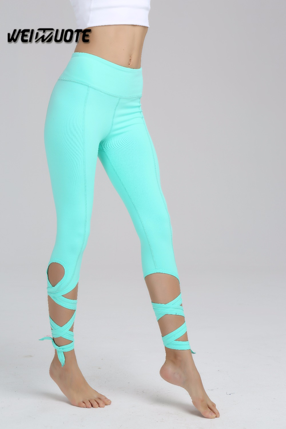 74a3bcb8ecd271 Tie yoga pants Women light blue wide waisyband sport leggings motion gym  Wrapped up Yoga PANT gym outfits
