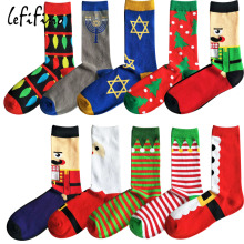 Christmas Tree Santa Claus Red Fancies Cotton Men Socks Character Jacquard Xmas Festive Striped Crew Socks