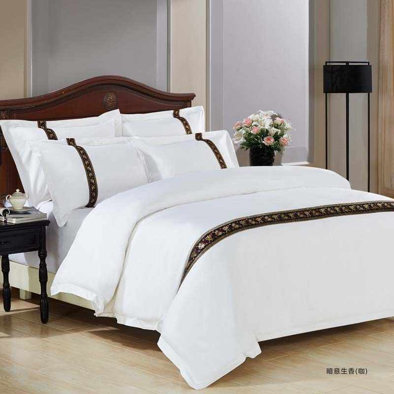 100% Cotton home Hotel Bedding Set sWhite Luxury Satin Strip Bed Line Four pieces sheet duvet cover&2 pillowcases