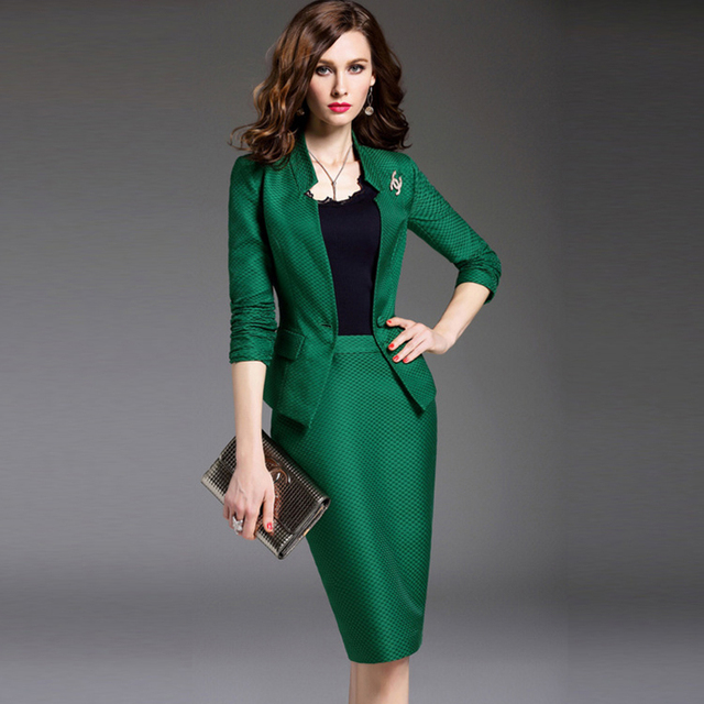 office uniform Style designs women 2016 Brand New Ladies Business Skirt Suit 2 Piece Set Women Blazer And Pencil Skirts