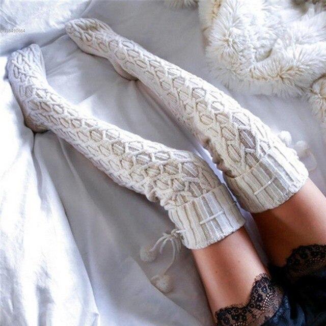 La manera Caliente Del Invierno de Punto de Ganchillo Mujeres Thigh-Highs Medias Sobre La Rodilla de Arranque