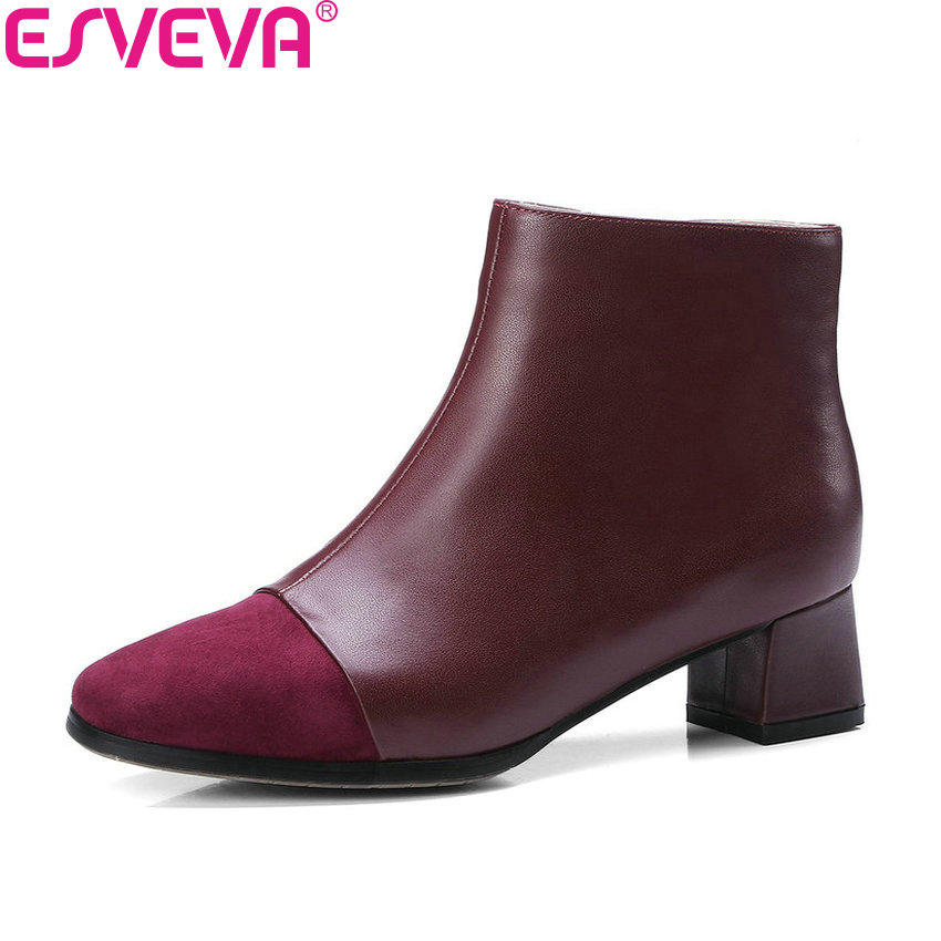 ESVEVA 2019 Women Boots Mixed Color Autumn Shoes Square Toe Zipper Shoes Ankle Boots Square Med Heels Ladies Boots Size 34-39 esveva 2019 ankle boots for women shoes round toe square high heels synthetic woman boots shoes autumn ladies boots size 34 39