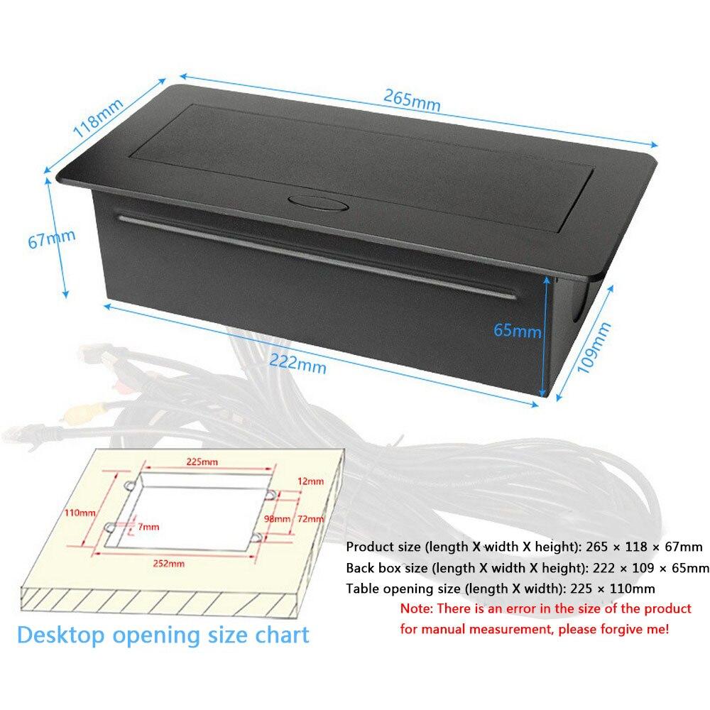 Prise de bureau prise USB universelle salle de conférence POP UP Table prise en alliage de Zinc panneau VGA Audio HDMI Interface réseau USB - 5