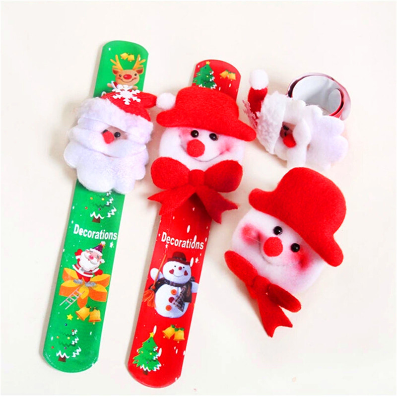 Santa Xmas Christmas Jewelry Slap Circle Bracelet Child Kids Baby Gift Ornament 2PCS/lots