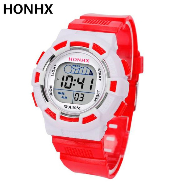 HONHX Waterproof Children Boys Digital LED Sports Watch Kids Alarm Date Wrist Wa