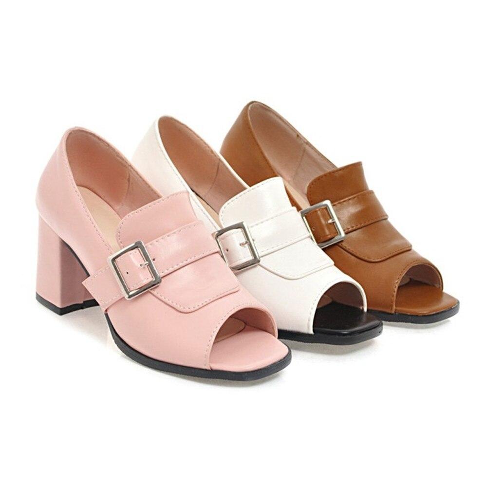 alti 46 Marrone Donna Fashion 34 Bianco Asum Spring 2018 New Rosa Donna Square Shoes Toe Taglia pumps Simple Heel Autunno Tacchi Peep UYHaAwHnq