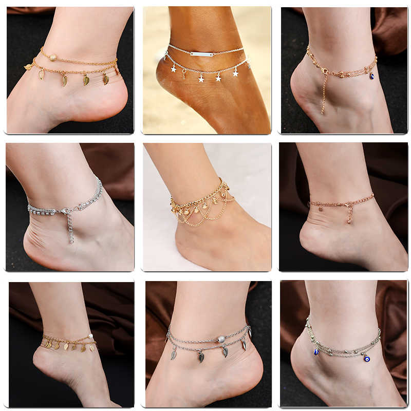 QCOOLJLY wielu warstwy Tassel obrączki moda kwiat liść wisiorek kostki bransoletki łańcuszek na nogę plaża stóp biżuteria dla kobiet Ladies