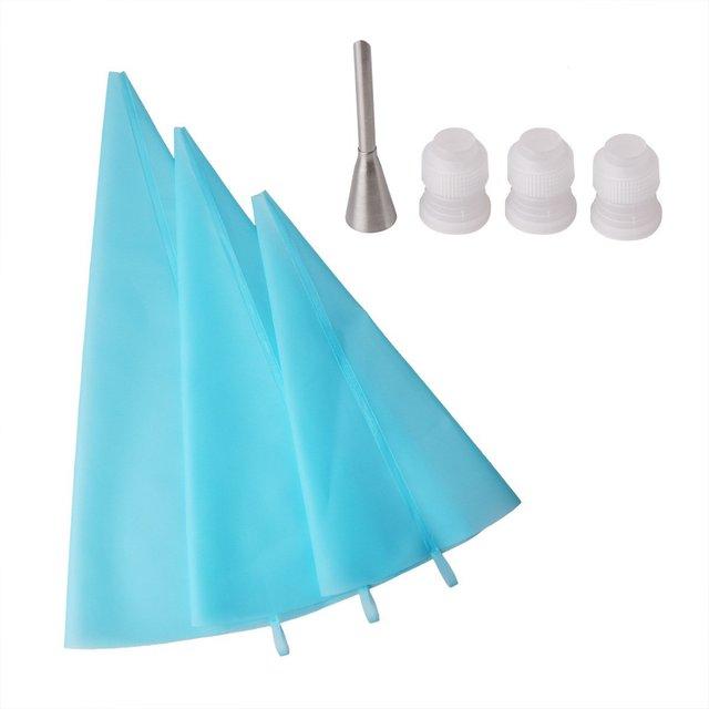 3 tamanhos Resuable Silicone Decoração Do Bolo Confeiteiro Pastry Bag com Engates 3 1 Sopro Bocal de Utensílio de Cozinha Ferramenta de Decoração Do Bolo
