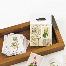 45pcs/box Stationery Stickers Paper School Decoration DIY Diary Scrapbooking Seal Vintage Plants Stamp