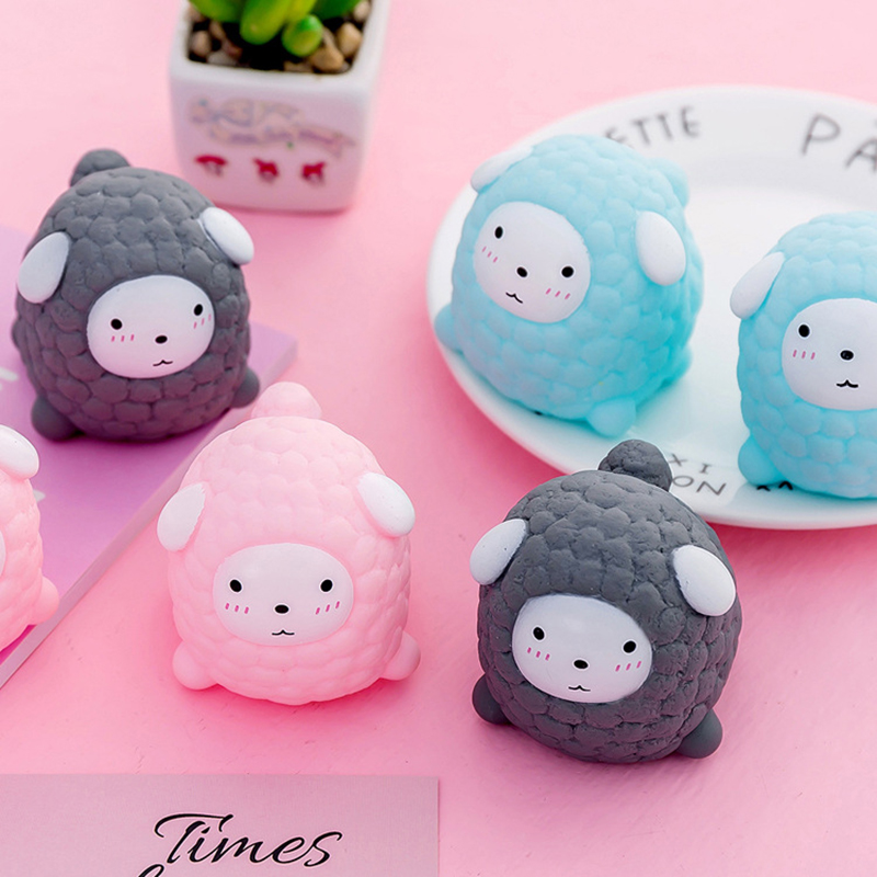 Cute Little Sheep Anti Stress Squeeze Ball Novelty Soft Animal Vent Balls Decompression Tricky Toy Gift T0726