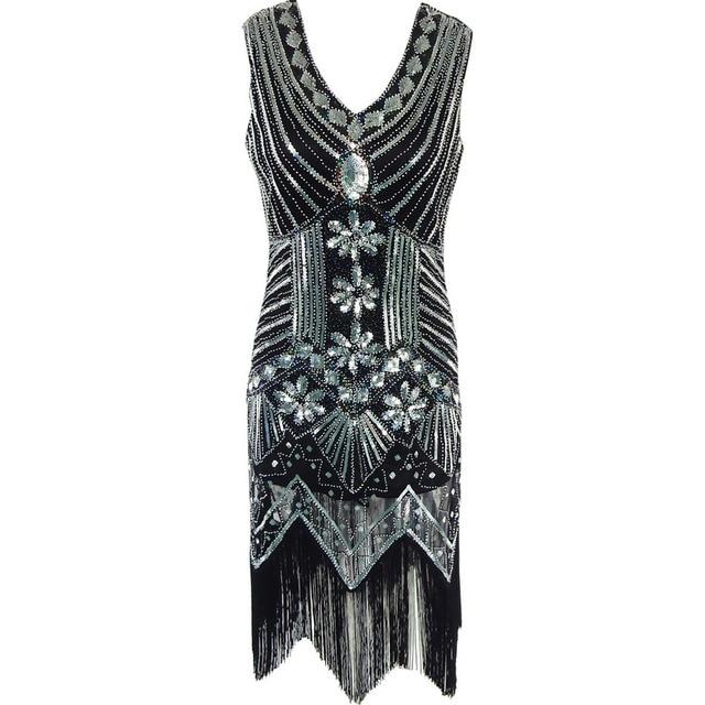 V Neck Beaded Sequin Art Deco Gatsby Inspired Flapper Dress Great Gatsby  Women 1920s Party Dresses 3e84deb30a47
