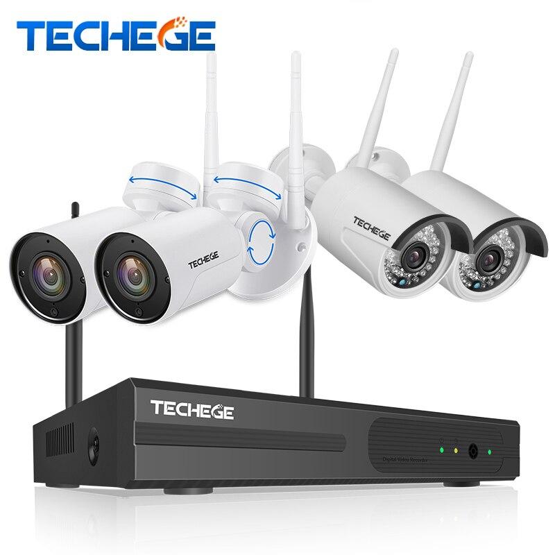 Techege 4CH Hybride 1080 p WiFi Caméra de Sécurité Système 4CH NVR KIT Extérieur Étanche WiFi PT Caméra détection de Mouvement CCTV système