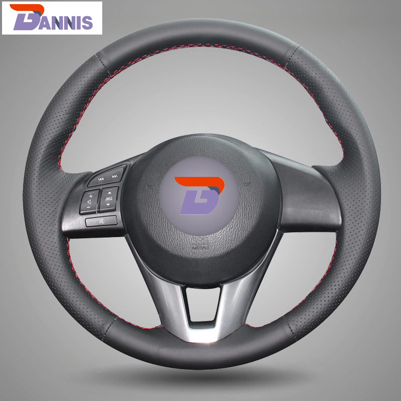 BANNIS Black Artificial Leather DIY Hand stitched Steering Wheel Cover for Mazda CX 5 CX5 Atenza