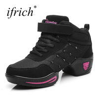 Ifrich 2017 Women Practice Dance Shoes New Cool Mid Top Jazz Dance Shoes Women Black Red
