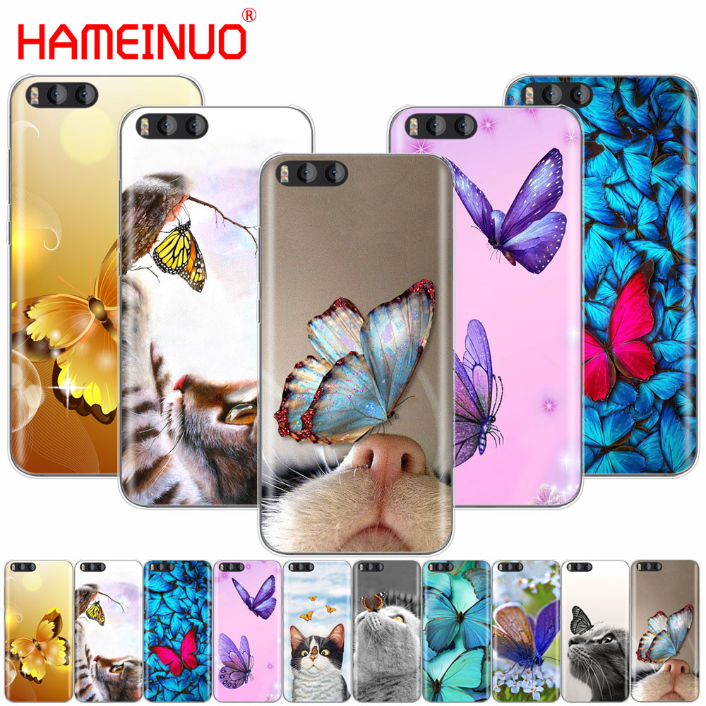 HAMEINUO Butterfly Stand On The Cat Nose Cover Case for Xiaomi Mi A1 A2 3 4 5 5S 5C 5X 6 6X 4S 4I 4C NOTE MAX 2 mix plus