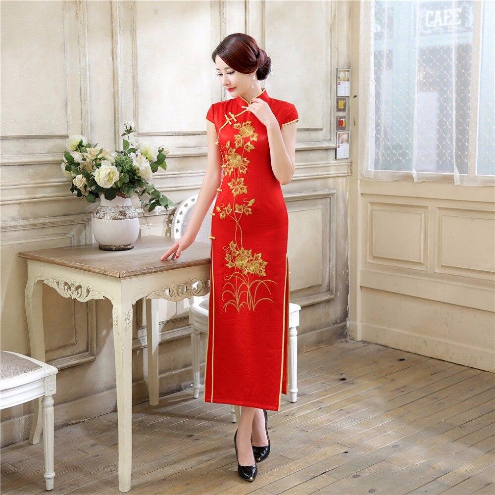 Shanghai Story chinois traditionnel longue robe de soirée robe Qipao S-2XL Vintage été à manches courtes de mariage Cheongsam pour les femmes
