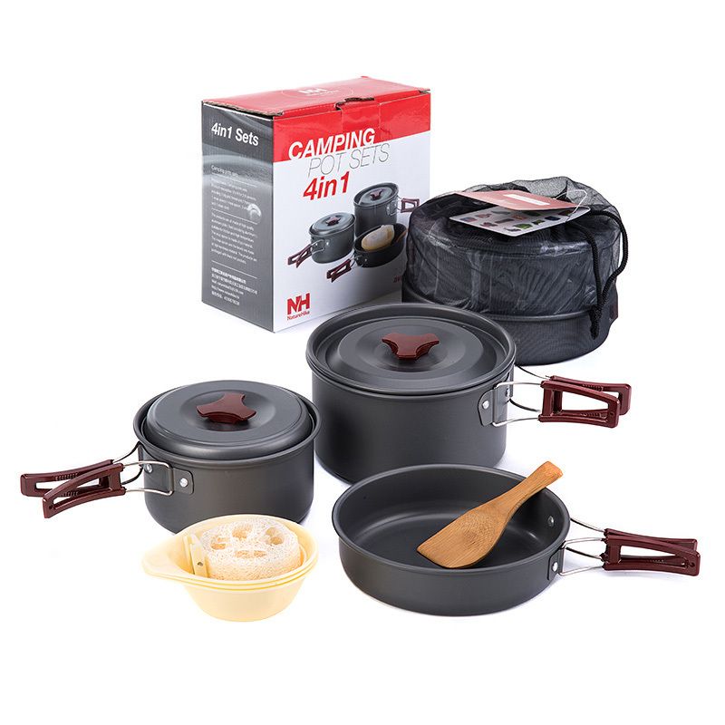 9638481c7e5 Naturehike Camping Cookware 2-3 Person Aluminium alloy Outdoor Pot Set  Folding Pots and Pans Lightweight NH15T203-G