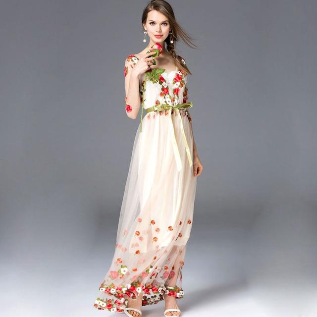 Vestidos largo primavera malla bordado sexy elegante manga tres cuartos