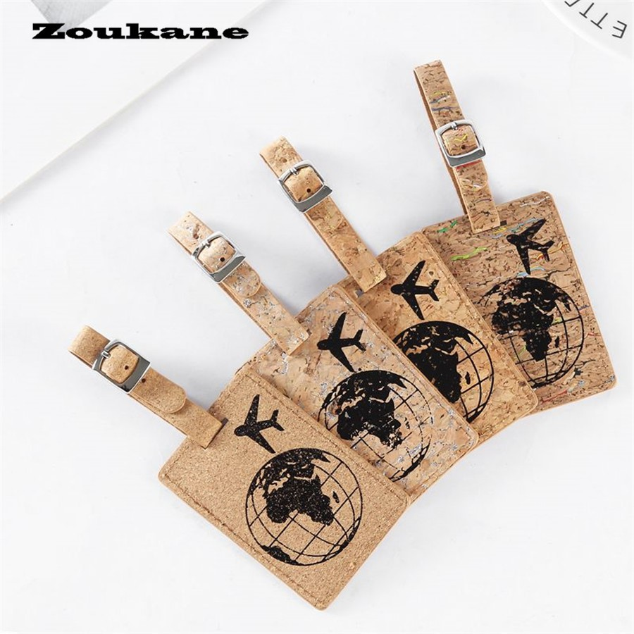 Zoukane Earth Suitcase Leather Luggage Tag Label Bag Pendant Handbag Travel Accessories Name ID Address Tags LT06