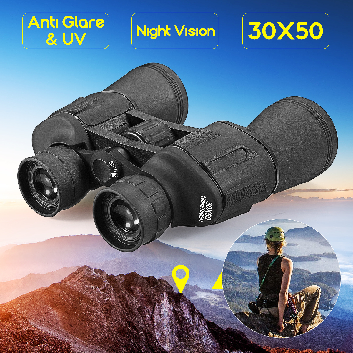 SGODDE 30x50 Optical Telescope Night Vision Binoculars 5-1000M Powerful Optics Binoculars HD Hunting Camping стоимость