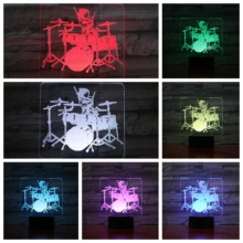 Jazz Drum kit set Usb 3d Led Night Light Multicolor Rgb Boys Kids Baby Gifts Musical Instrument Atmosphere Table Lamp Bedside