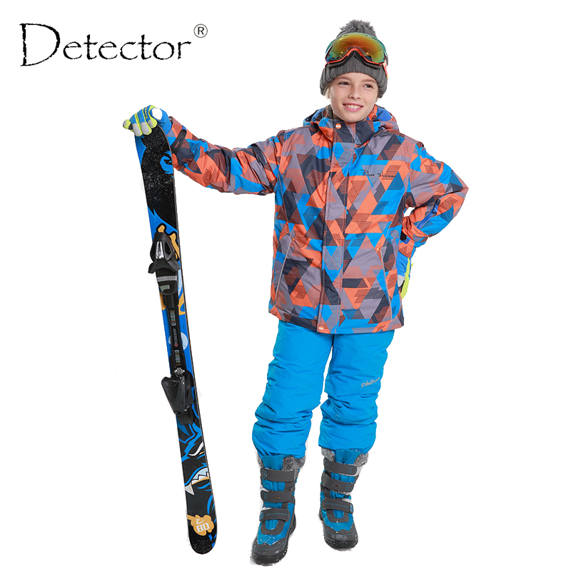 Detector Winter Thicken Boys Clothing Outdoor Set Snowboard Ski Set Jacket + Pants Winter Twinset Suitable -20-30 degree printed jacket and pocket design pants twinset