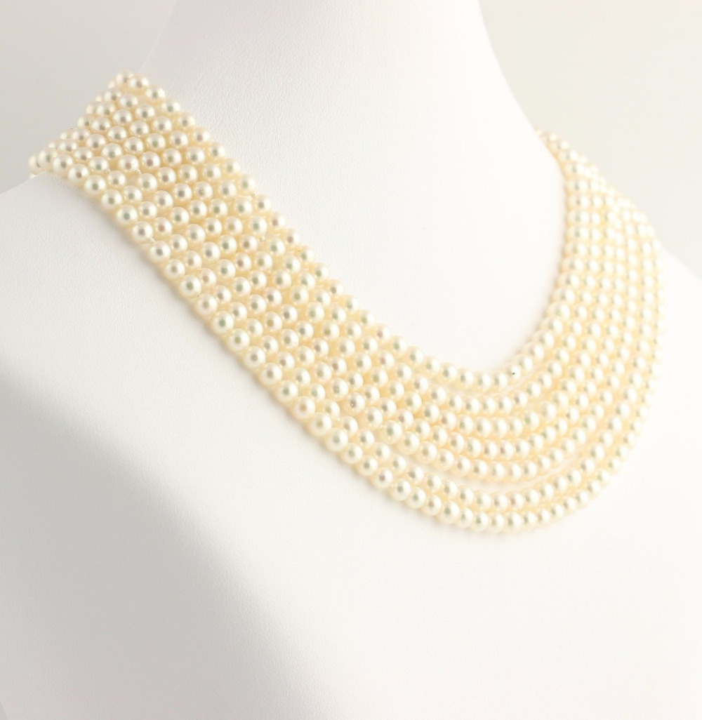 Beautiful NEW 7-8mm natural south seas white pearl necklace 88inch Yellow Clasp