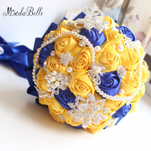Modabelle Yellow Royal Blue Wedding Bouquets With Crystal Bridal Bridesmaid Artificial Satin Roses Bride Flowers