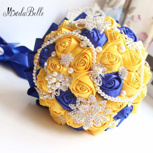 Modabelle yellow royal blue wedding bouquets with crystal bridal modabelle yellow royal blue wedding bouquets with crystal bridal bouquets bridesmaid artificial satin roses bride flowers mightylinksfo