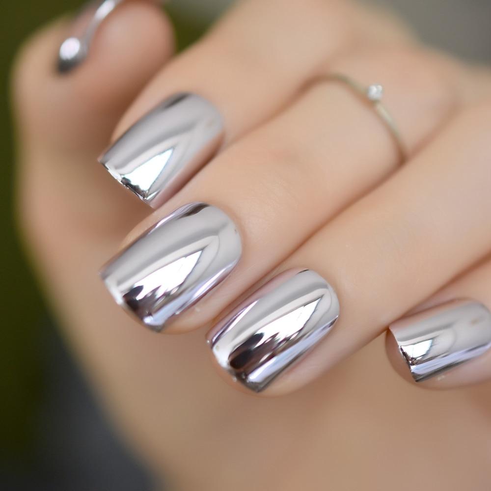 Shiny Punk Style Metallic Light Purple False Fake Nails Metal Plating Acrylic Short Reflective Mirror Press On Nail Art Tips