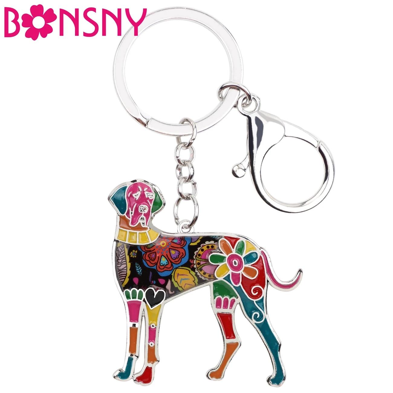 Great Dane Dog Uncropped Multicolor Enamel Alloy Key Ring Keychain Purse Dangle