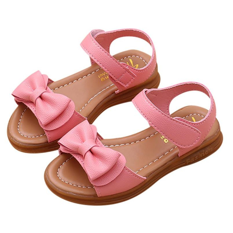 5-MB Child Children Boy Girl Kid Baby Summer Infant Girls Bowknot Sandals Non-Slip Princess Casual Shoes