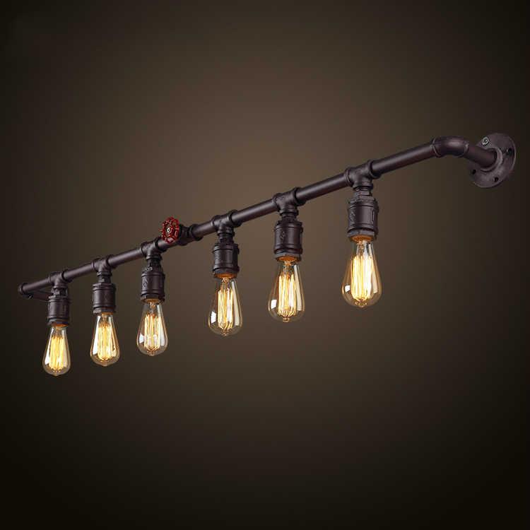 Винтажный Лофт водопровод настенный светильник деревенский стиль лофт e27 Бра Светильники для гостиной спальни ресторана бара