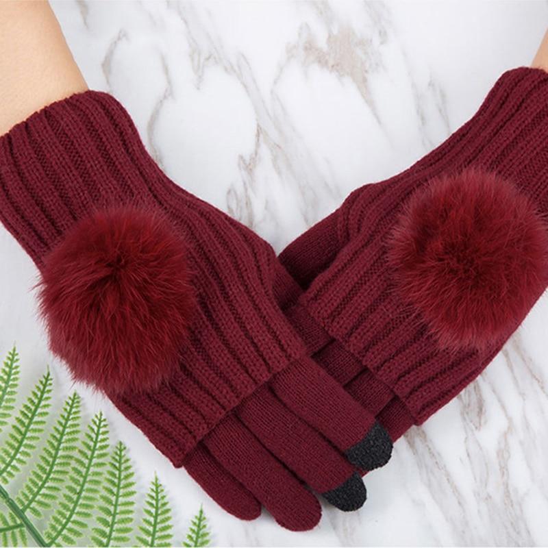 New Winter Gloves Women Touch Screen Mittens Female Fashion Outdoor Sport Keep Warm Full-Finger Gloves
