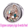 Engrave logo words free,wedding christmas party gift,crystal peacock,beauty pocket mirror,stainless steel,makeup compact mirror