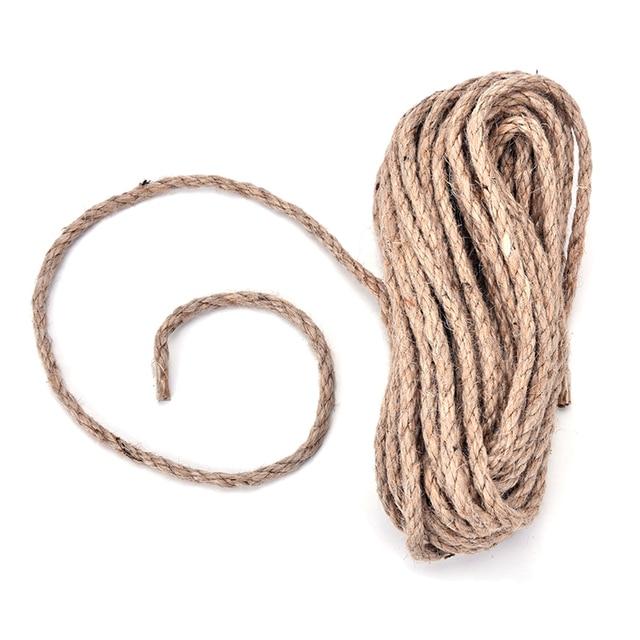 1 unid madera color natural cuerda de camo secuencia del lazo del animal domstico del yute cuerda - Cuerda De Yute