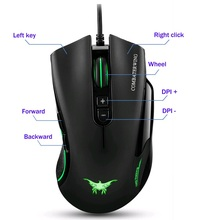 Combaterwing CW10 4800 DPI Wired Gaming Mouse  7 Buttons Design 6 Breathing LED Colors Changing High Precision for Gamer PC MAC