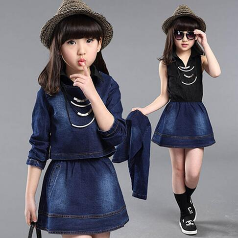 7334d1c89487 Fashion Baby Girl Jean Skirt Set Turn Down Collar Dress+Long Sleeve ...