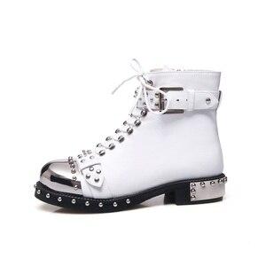 Image 4 - MORAZORA 2019 di marca rivetti punk della caviglia stivali delle donne di autunno di inverno genuino stivali di pelle femminile di alta qualità stivali da moto scarpe